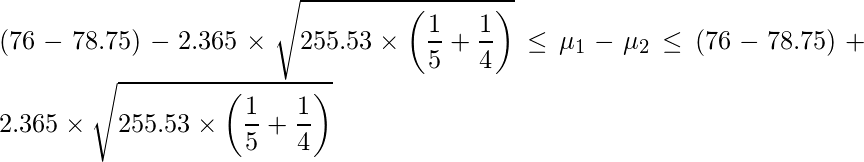 \displaystyle (76-78.75)-2.365 \times \sqrt{255.53 \times \left(\frac{1}{5}+\frac{1}{4}\right)} \leq \mu_{1}-\mu_{2}  \leq (76-78.75)+2.365 \times \sqrt{255.53 \times \left(\frac{1}{5}+\frac{1}{4}\right)}