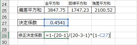 自由度修正済み決定係数を求める数式の入力