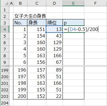 順位を確率に変換する数式の入力